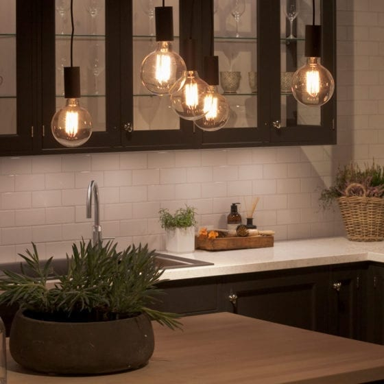Kjøkkenbelysning med lun stemning
