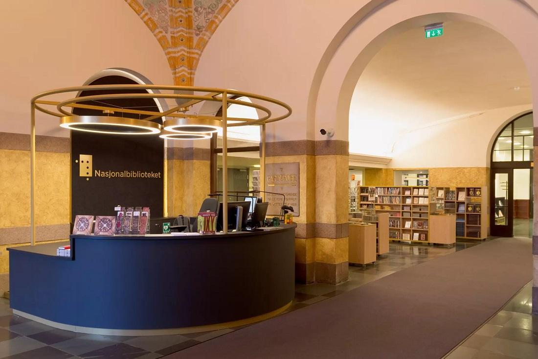 Belysning i Nasjonalbiblioteket i Oslo