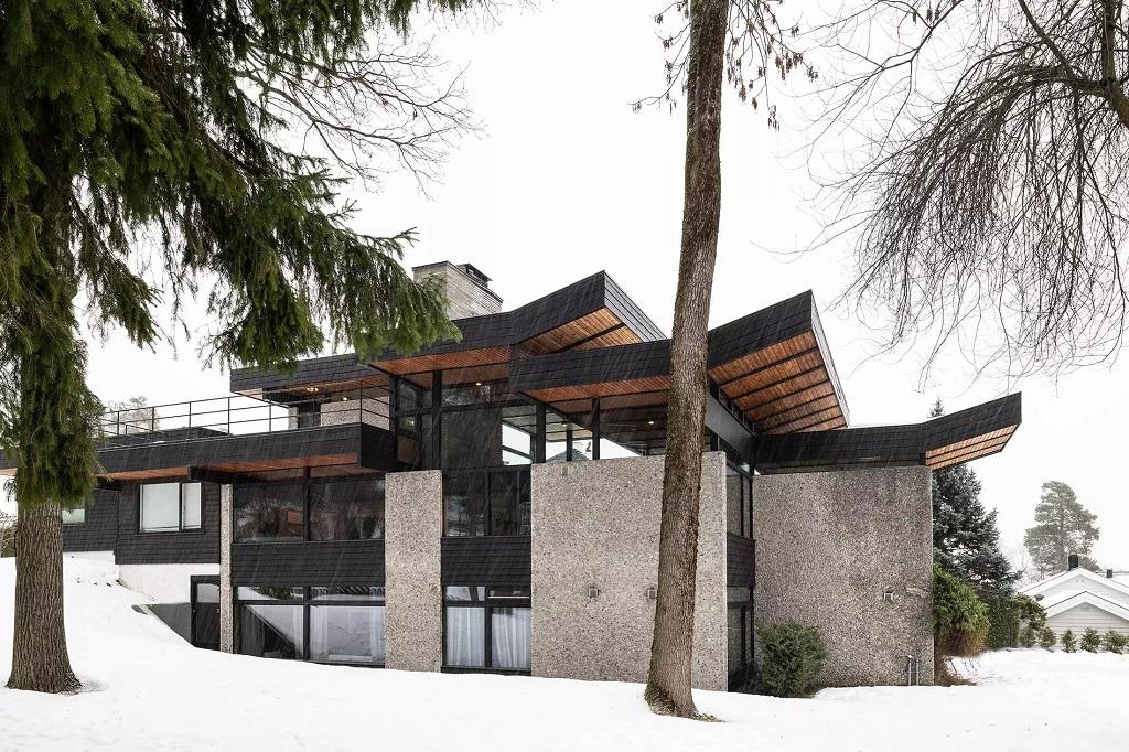 Bolig fasade vinter