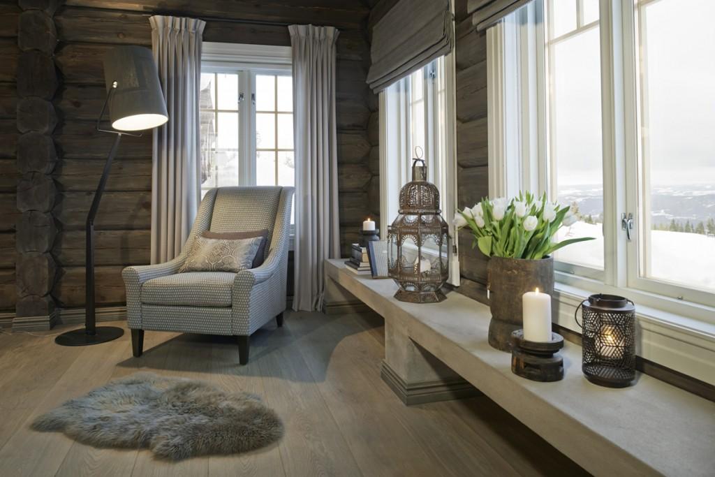 Belysning i stue i hytte på Hafjell
