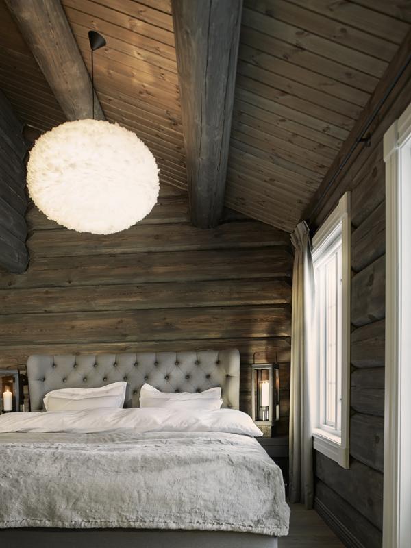 Belysning på soverom i hytte på Hafjell