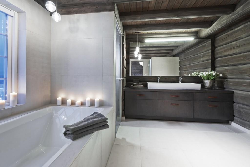 Belysning i baderom i hytte på Hafjell
