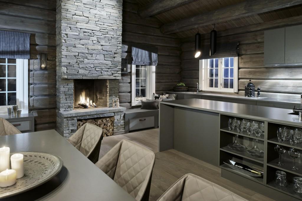 Belysning i kjøkken i hytte på Hafjell