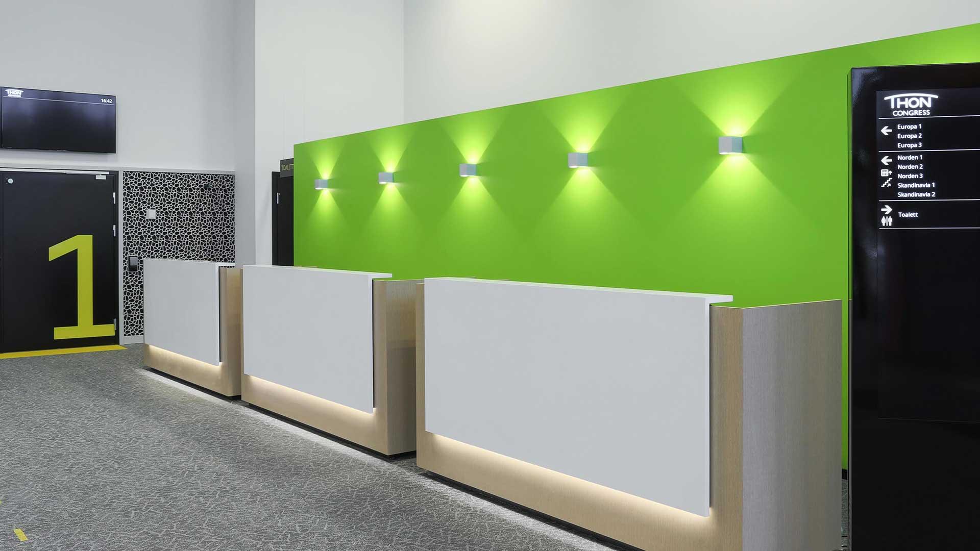 Belysning i konferanseområde på Thon Congress Gardermoen