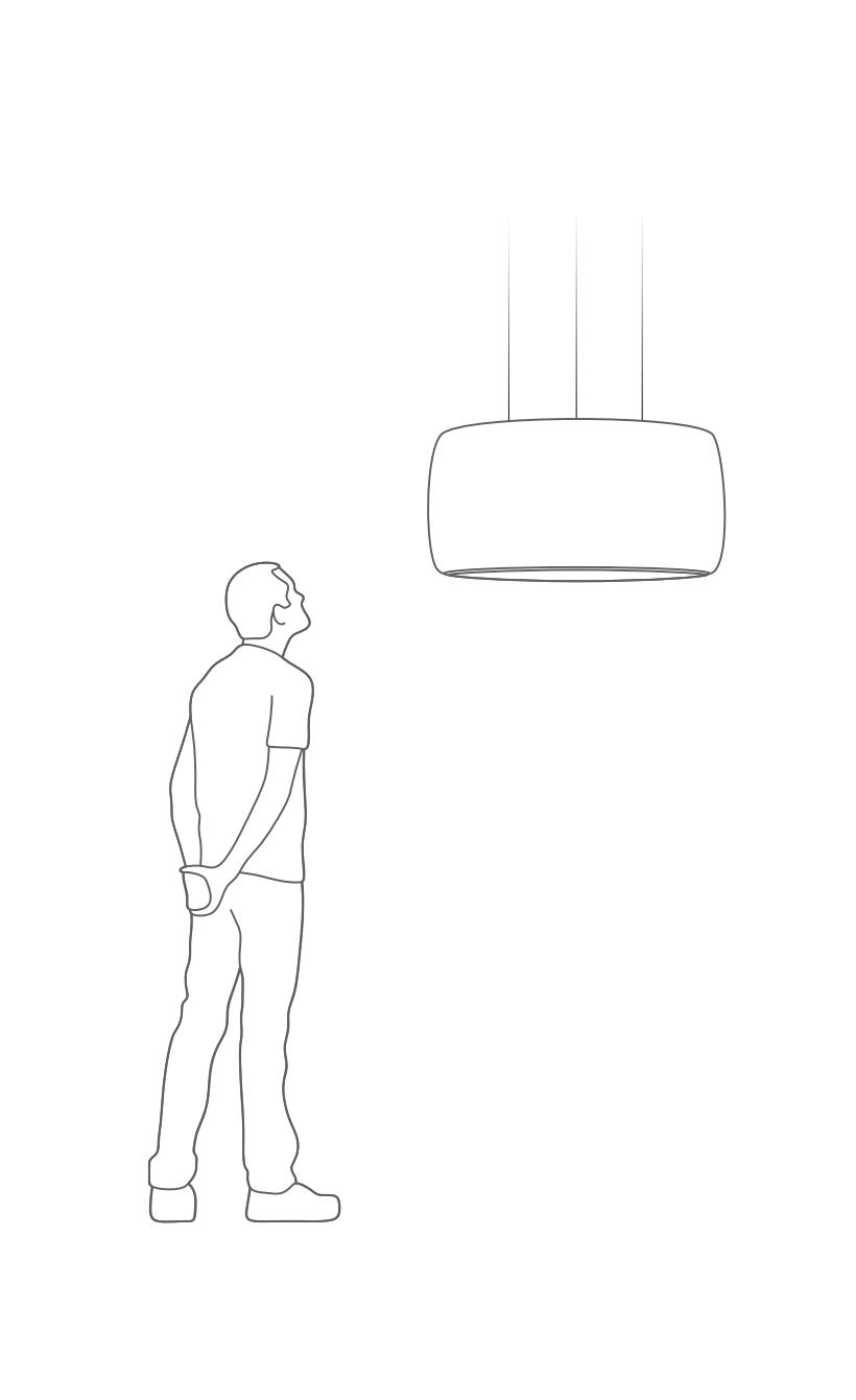 Illustrasjon - mann og Black Hole lampe fra Intra Light