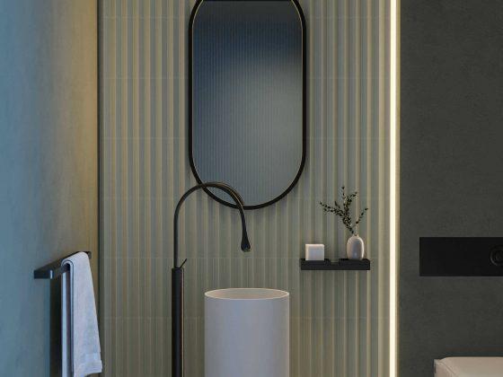 Oval Futon Mirror fra Intra Lighting på badet