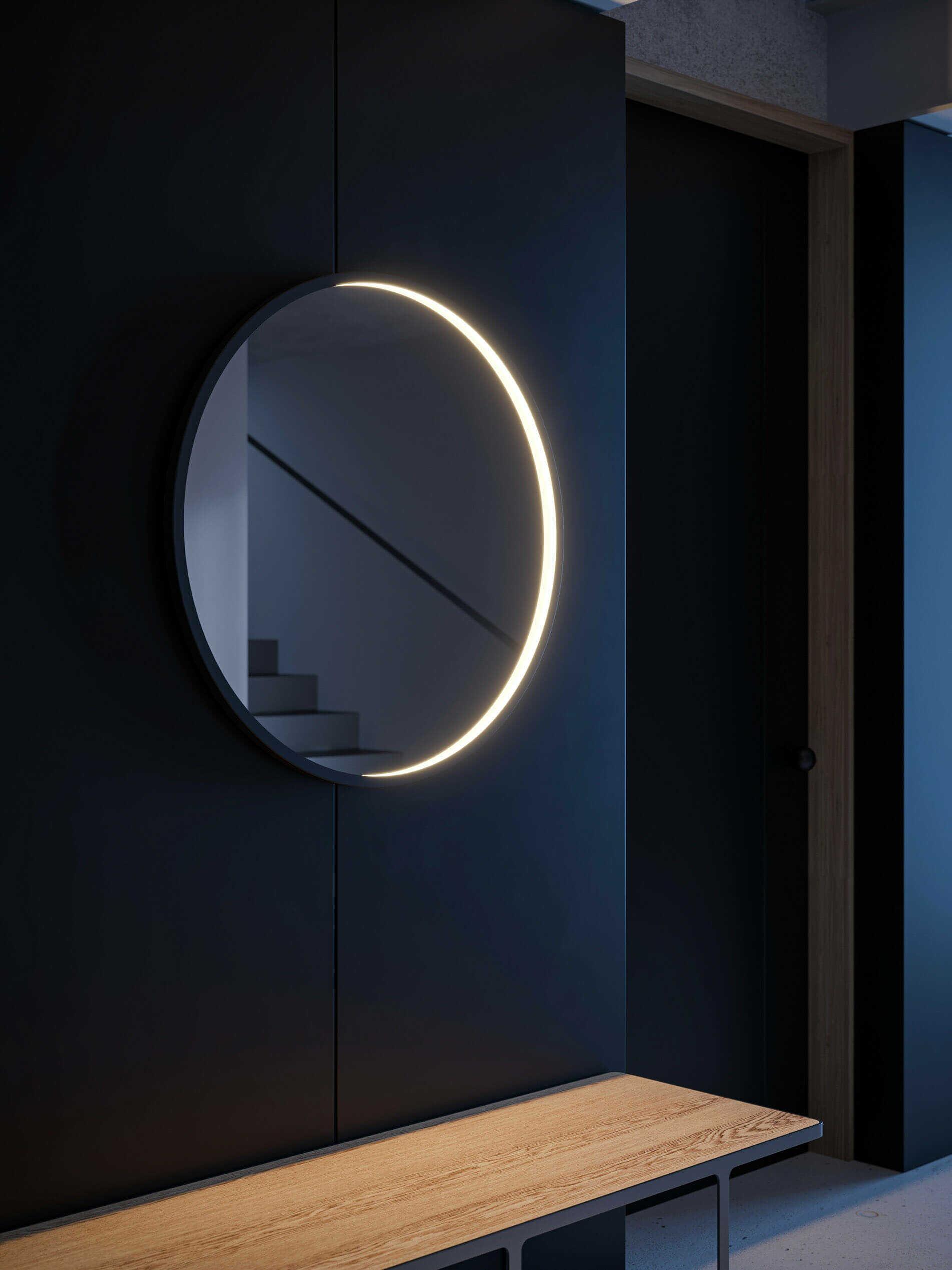 Rund Futon Mirror fra Intra Lighting i gang
