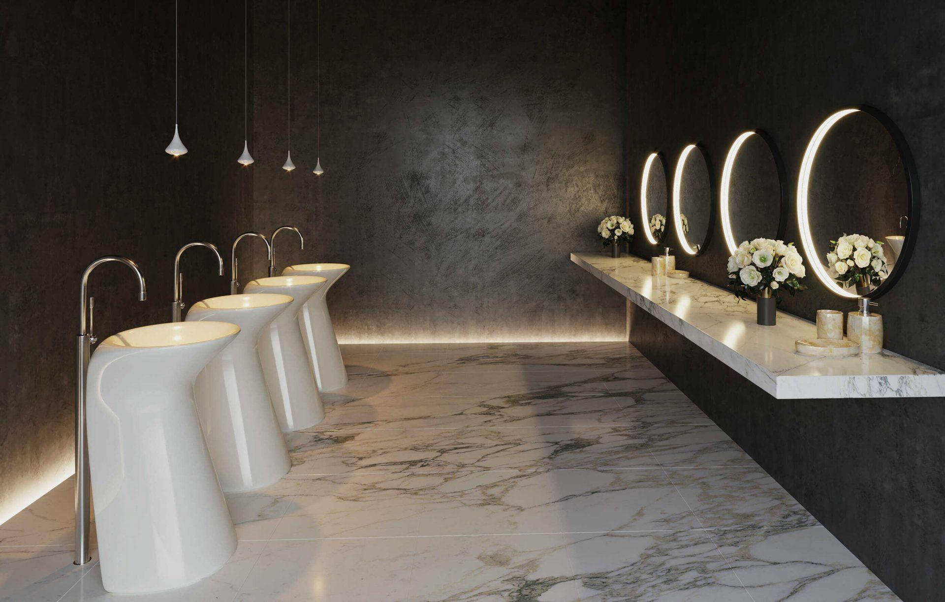 Futon speilarmaturer fra Intra Lighting i toalett